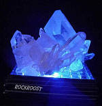 Crystal Cluster #505 on LED with blue light shining through