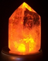 Single Crystal #2 on LED with amber light shining through