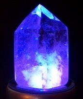 Single Crystal #1 on LED with blue light shining through