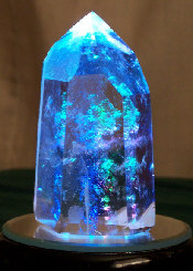 Crystal #03 on LED with blue light shining through