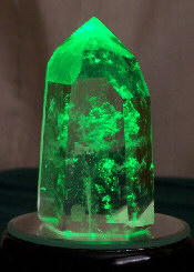 Crystal #03 on LED with green light shining through