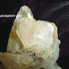 Click image to enlarge - Specimen of two Japan-law twin quartz crystals found by us in the area of Washington Camp, Arizona - view of the larger of the two twins.